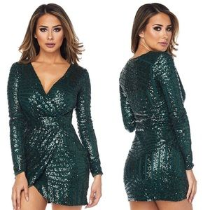 Short Dress with Sequin Detail